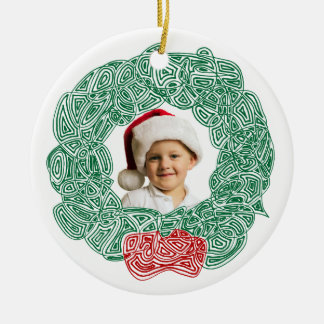 Christmas Wreath Photo Ceramic Ornament