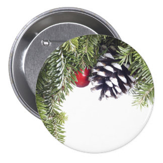 Christmas Wreath Pine Cone Red Berry Template 3 Inch Round Button