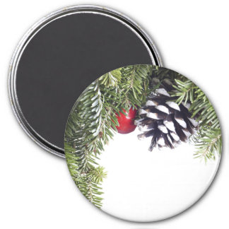 Christmas Wreath Pine Cone Red Berry Template Fridge Magnet