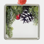 Christmas Wreath Pine Cone Red Berry Template Christmas Tree Ornament