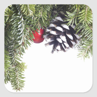 Christmas Wreath Pine Cone Red Berry Template Square Stickers