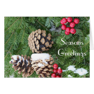 Christmas wreath, pine cones and berries cards