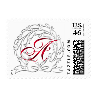 Christmas Wreath Postage Red A Monograms