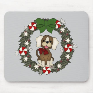 Christmas Wreath Pup Mouse Pad