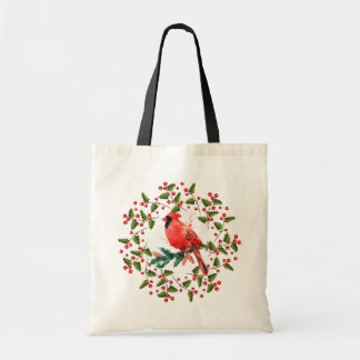 Christmas Wreath & Red Bird Tote Bag