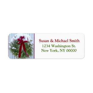 Christmas Wreath Red Bow Snow Covered Evergreen Label