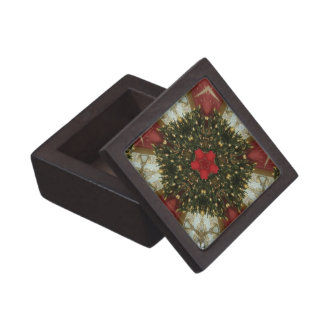 Christmas Wreath Red Green Gold with Red Star Gift Box