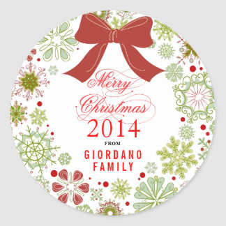 Christmas Wreath Red Green & White Marry Christmas Round Stickers