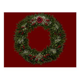 Christmas Wreath Red Rose Postcard
