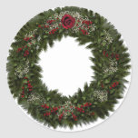 Christmas Wreath Red Rose Sticker
