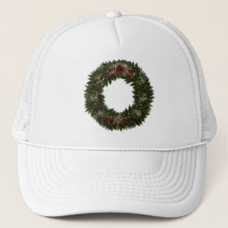 Christmas Wreath Red Rose Trucker Hat