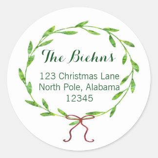 Christmas Wreath Return Address Label Classic Round Sticker