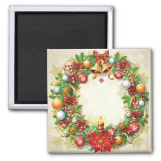 Christmas Wreath Square Magnet