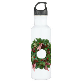 Christmas Wreath Stainless Steel Water Bottle