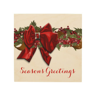 Christmas wreath traditional December July Wood Wall Art