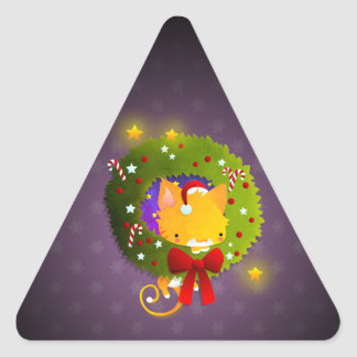 Christmas Wreath Triangle Stickers