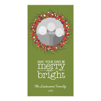 Christmas Wreath - twigs and berries Customized Photo Card