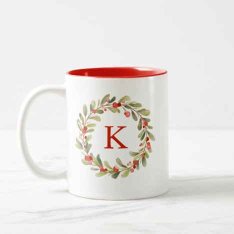 Christmas Wreath Watercolor Monogram Two-Tone Coffee Mug