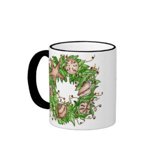 Christmas Wreath Watercolor Ringer Mug
