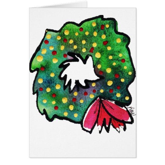 Christmas Wreath  Whimsy Greeting Card