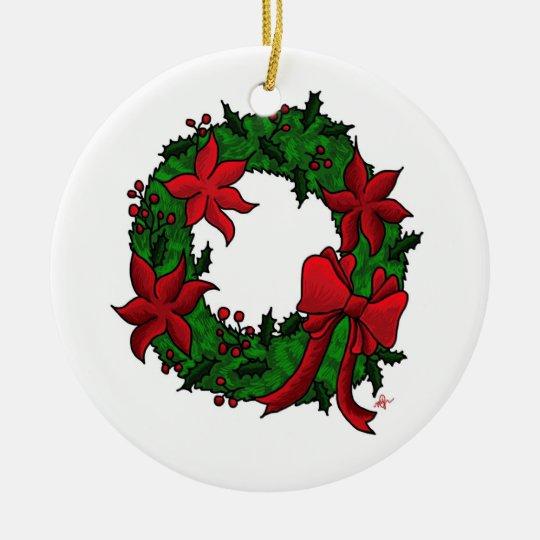 Christmas Wreath White Background Ceramic Ornament