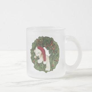 Christmas Wreath with Bear Coffee Mugs