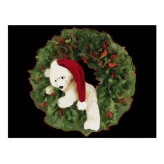 Christmas Wreath with Bear Postcard