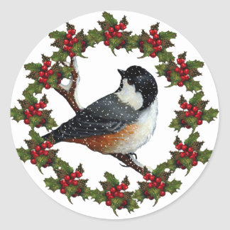 Christmas Wreath with Chickadee: Original Art Classic Round Sticker