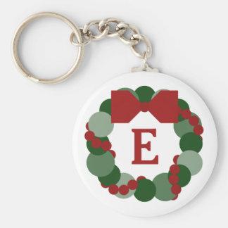 Christmas Wreath with Custom Monogram Keychain