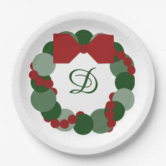 Christmas Wreath with Custom Monogram Party Plates