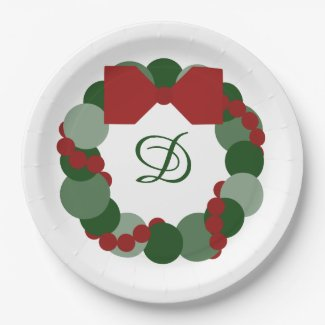 Christmas Wreath with Custom Monogram Party Plates 9 Inch Paper Plate