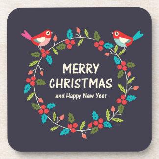 Christmas Wreath With Cute Bird Coaster