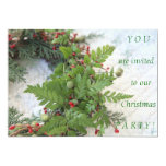 Christmas wreath with ferns invitation with text