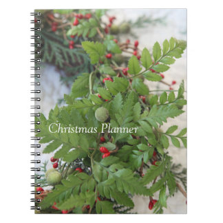 Christmas wreath with ferns spiral notebook