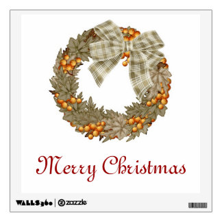 Christmas wreath with gold baubles wall sticker