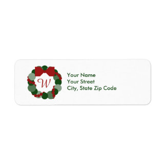 Christmas Wreath with Initial return address label