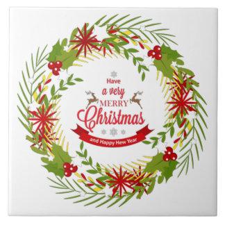 Christmas Wreath with Mistletoe Ceramic Tile