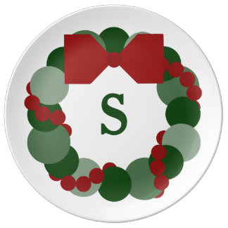 Christmas Wreath with Monogram Holiday Party Plate