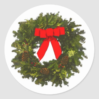 Christmas Wreath with Pine Cones and Red Bow Classic Round Sticker