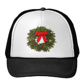 Christmas Wreath with Pine Cones and Red Bow Trucker Hat