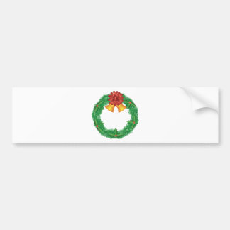 Christmas Wreath with Red Bow and Bells Bumper Sticker