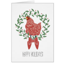 Christmas wreath with red hen v.2 card