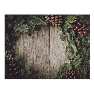 Christmas Wreath with Rustic Wood Background Postcard