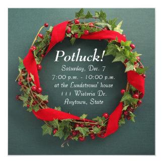 Christmas wreath with velvet ribbon potluck card