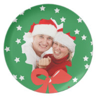 Christmas Wreath with Your Photo Plate Red Green