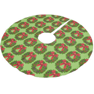 Christmas Wreaths Brushed Polyester Tree Skirt