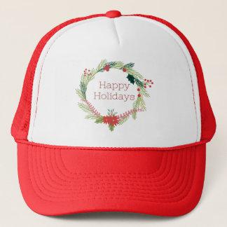 Christmas Wreaths Happy Holidays Trucker Hat