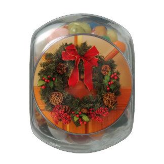 Christmas Wreaths Jelly Belly Candy Jar