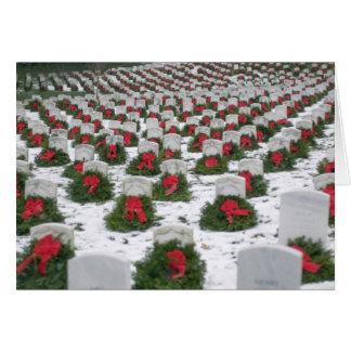 Christmas wreaths snow Arlington National Cemetery Card