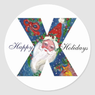 CHRISTMAS X LETTER / SANTA CLAUS WITH RED RIBBON CLASSIC ROUND STICKER
